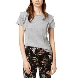 Bar III Womens Top Ruffled T-Shirt Heather Grey